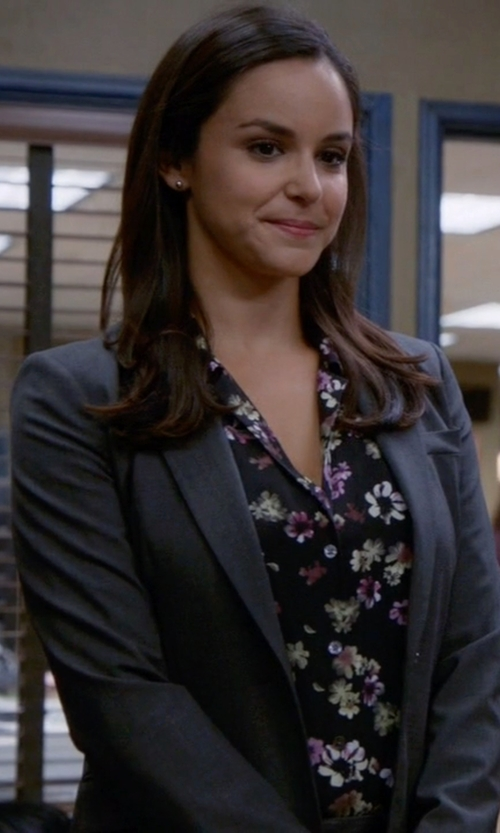 Melissa Fumero with Theory Custom Gabe Edition Blazer in Brooklyn Nine-Nine