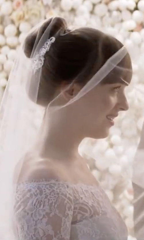 Dakota Johnson with Cloverdress Boat Neck Lace Mermaid Wedding Dress in Fifty Shades Freed