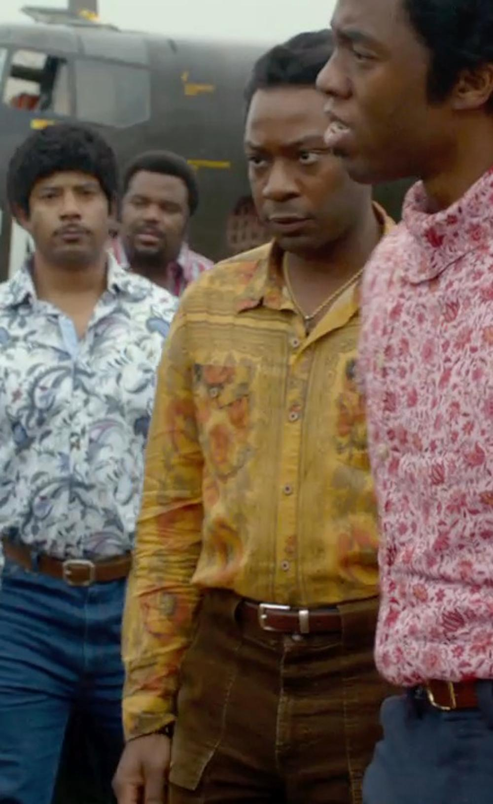 Nelsan Ellis with Urban Outfitters Rose Button-Down Shirt in Get On Up