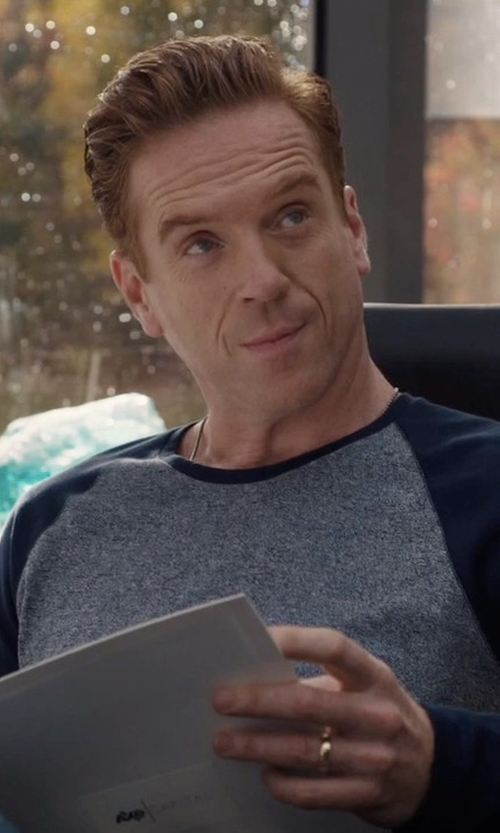 Damian Lewis with Vince Rustic Mouline Long Sleeve Baseball Tee in Billions