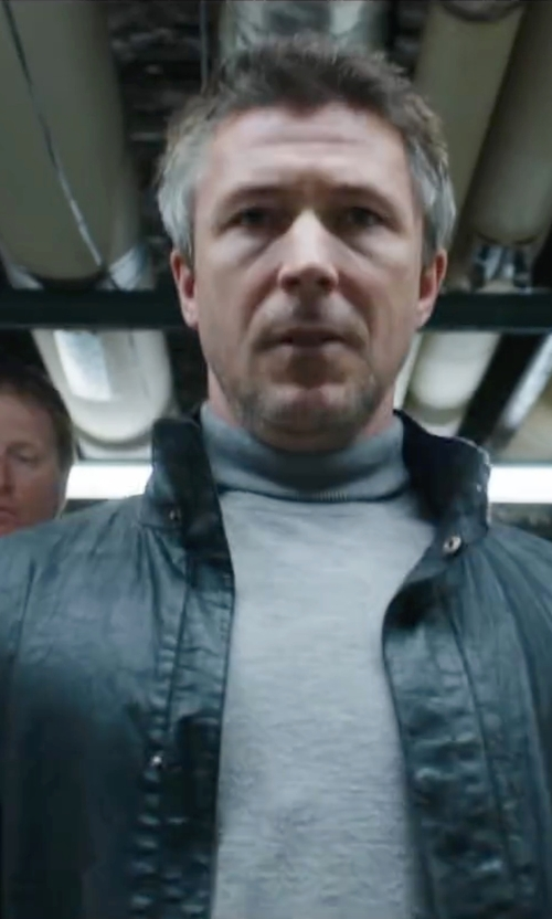 Aidan Gillen with Tommy Hilfiger Faux Leather Bomber Jacket in Maze Runner: The Scorch Trials