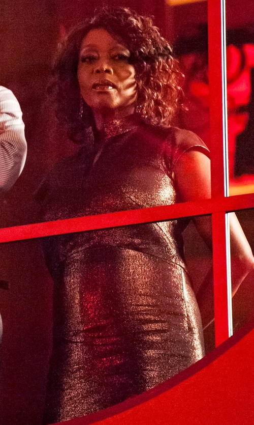 Alfre Woodard with Adrianna Papell Sequined Lace Cap-Sleeve Sheath Dress in Marvel's Luke Cage