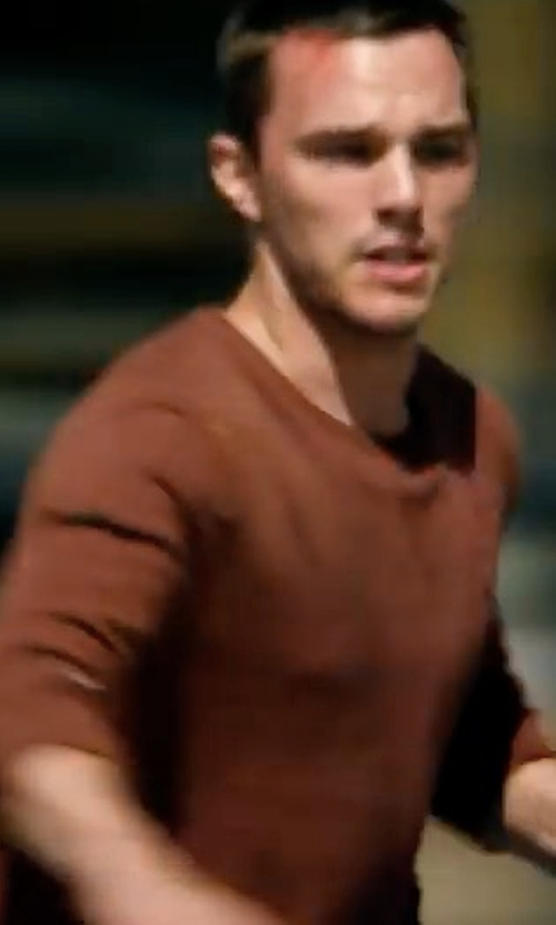 Nicholas Hoult with Ermenegildo Zegna Seamless Yak Crewneck Sweater in Collide