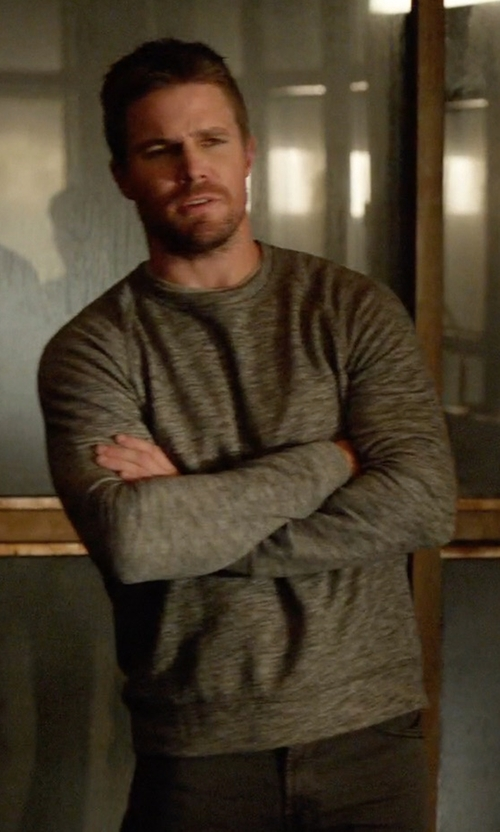 Stephen Amell with Eleventy Melange Fine Stripe Crewneck Sweater in Arrow