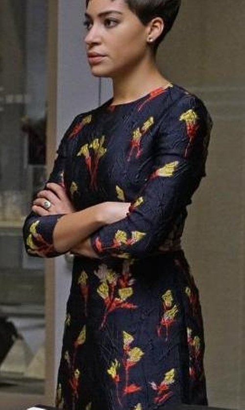 Cush Jumbo with Jason Wu Floral Printed Jacquard Mini Dress in The Good Fight