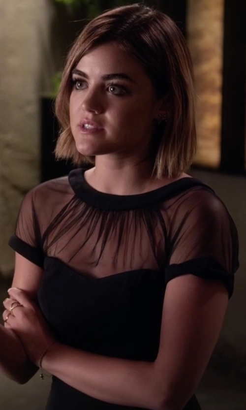 Lucy Hale with Maggy London Illusion Yoke Crepe Sheath Dress in Pretty Little Liars