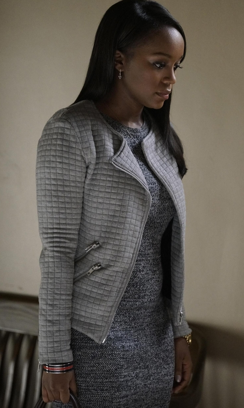 Aja Naomi King with Generation Love Duncan Quilted Knit Moto Jacket in How To Get Away With Murder