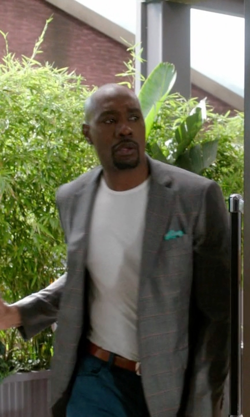 Morris Chestnut with Tagliatore Checked Blazer in Rosewood
