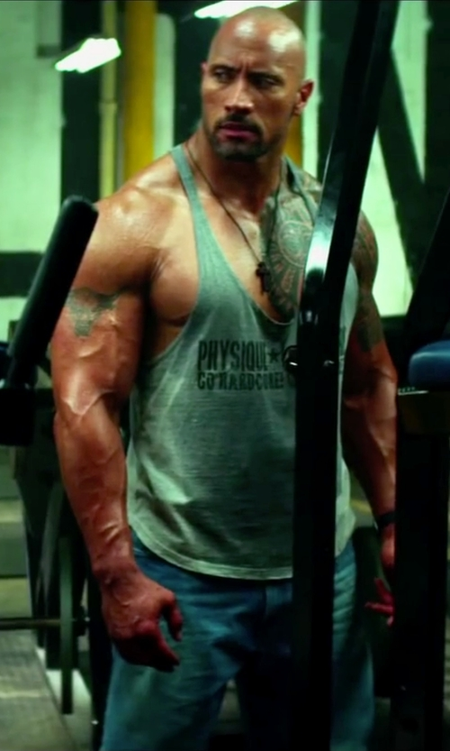 Dwayne Johnson with Physique Bodyware Men's Hardcore Y-Back Stringer Tank Top in Pain & Gain