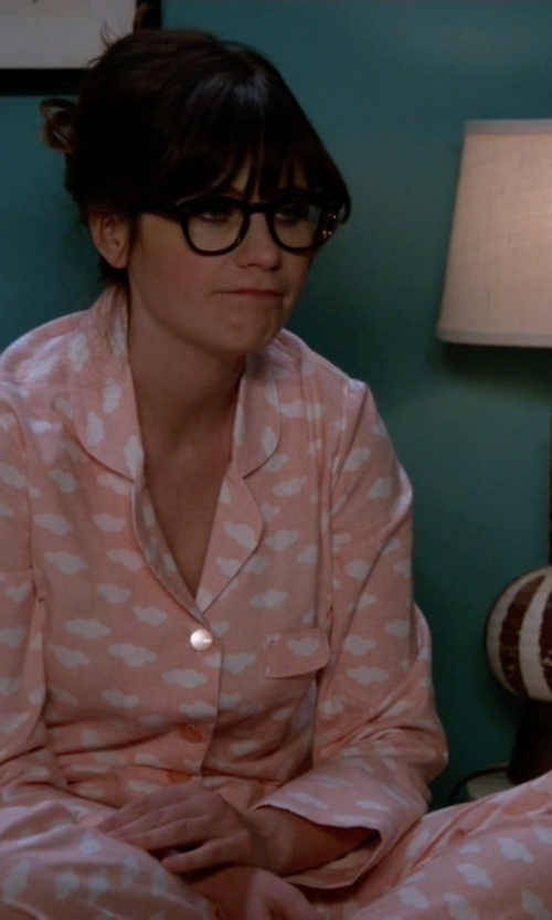 Zooey Deschanel with Charter Club Geo-Print Pajama Set in New Girl