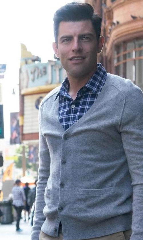 Max Greenfield with Tomas Maier  Merino Cardigan Sweater in New Girl