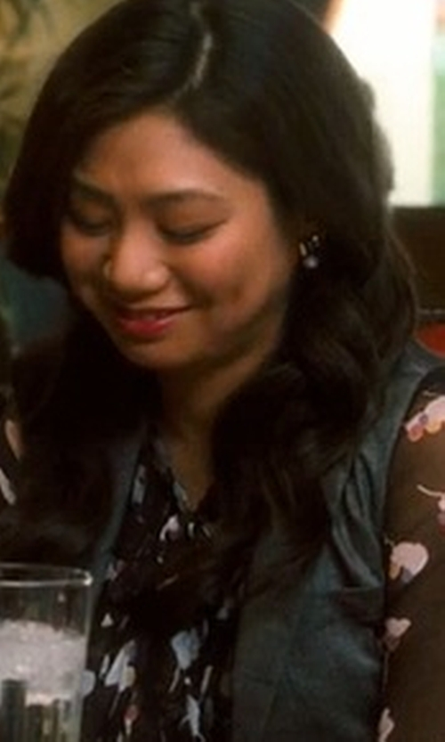 Liza Lapira with Sam & Lavi Antonette Floral-Print Chiffon Blouse in Crazy, Stupid, Love.