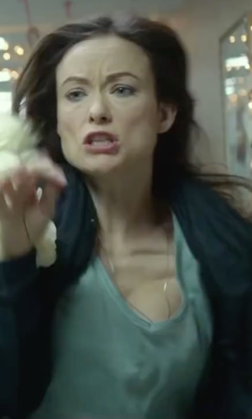 Olivia Wilde with Banana Republic Deep V-Neck Weave Shirt in Love the Coopers