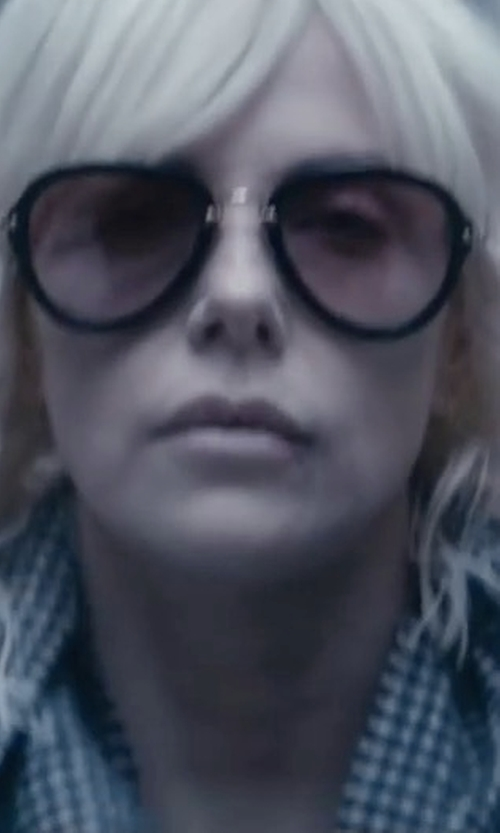 Charlize Theron with Miu Miu 03QS Sunglasses in Atomic Blonde
