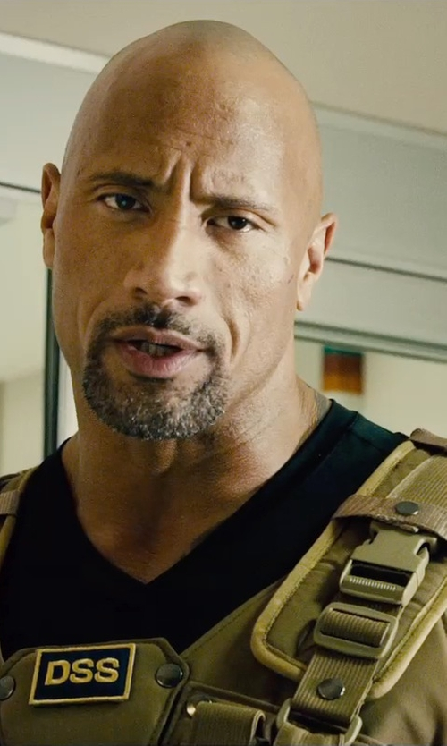 Dwayne Johnson with Under Armour V-Neck Heatgear T-Shirt in Furious 7