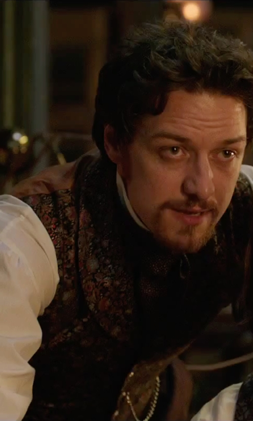 James McAvoy with Tallia Burgundy Gold Paisley Vest in Victor Frankenstein