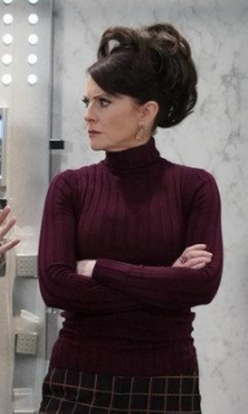 Megan Mullally with Acne Studios Corina Fitted Turtleneck Sweater in Will & Grace