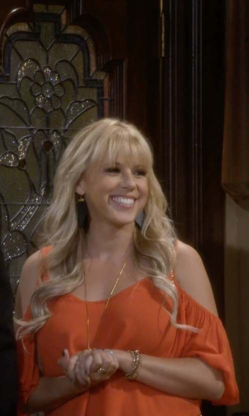 Jodie Sweetin with Chelsea28 Chiffon Cold Shoulder Top in Fuller House
