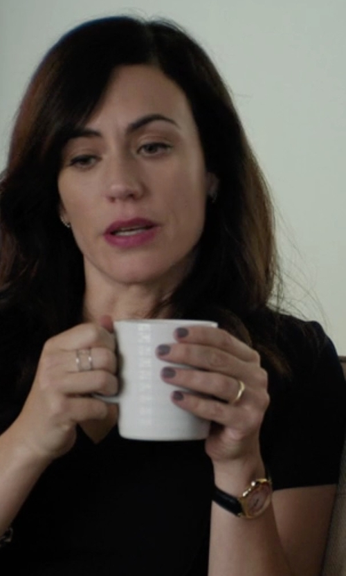 Maggie Siff with Barbour  'Heritage' Leather Strap Watch in Billions
