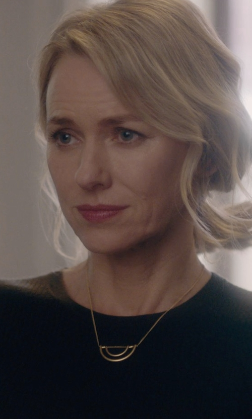 Naomi Watts with Melissa Joy Manning Half Circle Gold And Diamond Necklace in Gypsy