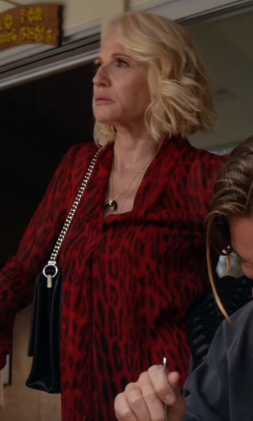 Ellen Barkin with Tory Burch  Harper Center-Zip Leather Tote Bag in Animal Kingdom