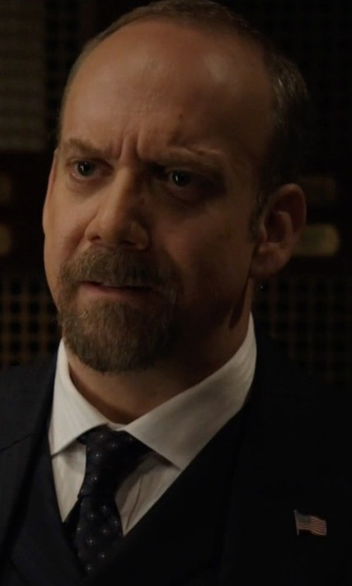 Paul Giamatti with Vitaliano Square Circle-Print Silk Tie in Billions