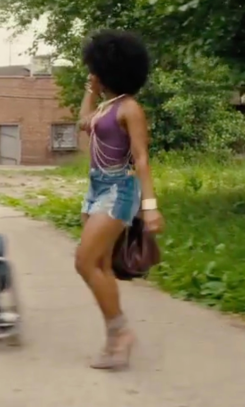 Teyonah Parris with The Fifth Go Outside Denim Shorts in Chi-Raq