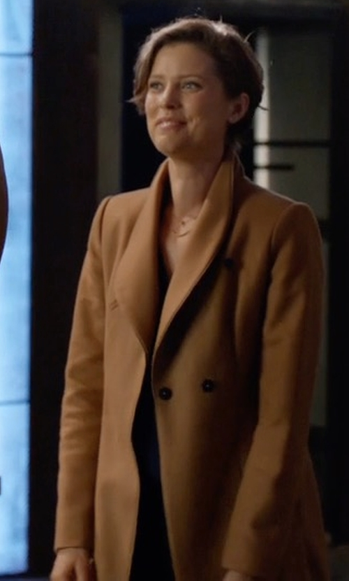 Audrey Marie Anderson with Zara Wool Coat in Arrow