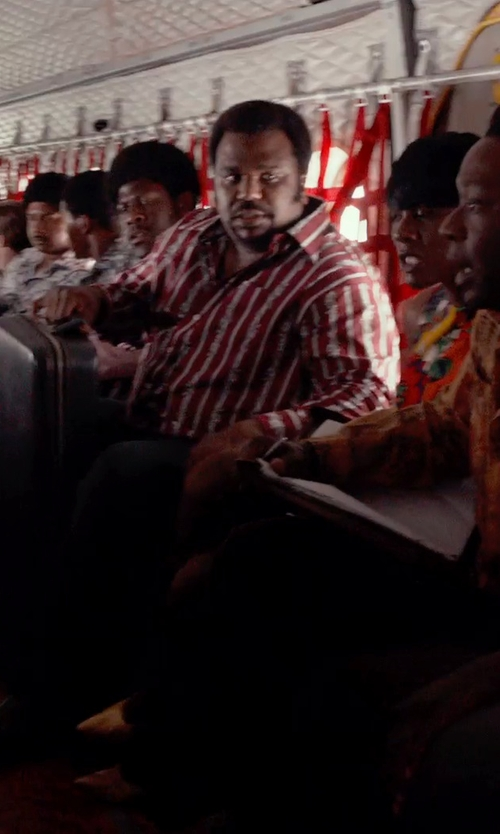 Craig Robinson with Façonnable Red and White Stripe Dress Shirt in Get On Up