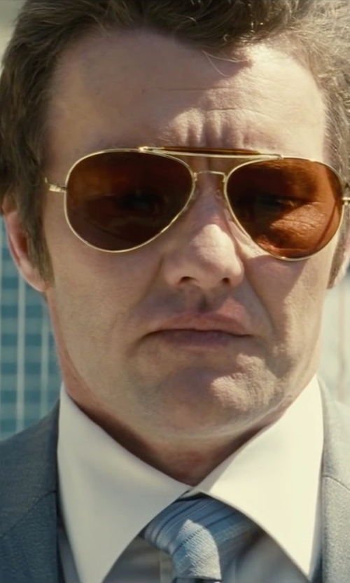 Joel Edgerton with Oliver Peoples Benedict Basic Polarized Aviator Sunglasses in Black Mass