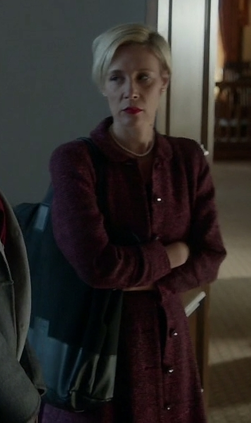 Liza Weil with Fleet Street Wool Blend Peplum Coat in How To Get Away With Murder