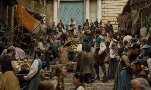Maisie Williams with Sant Martí Sacosta (Depicted as Market Stairs in Braavos) Girona, Spain in Game of Thrones