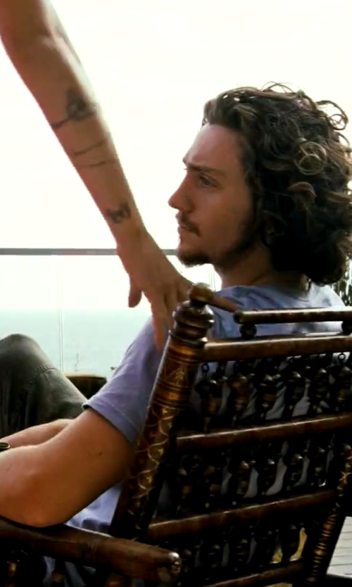 Aaron Taylor-Johnson with River Island Purple Low Scoop Neck Short Sleeve T-Shirt in Savages