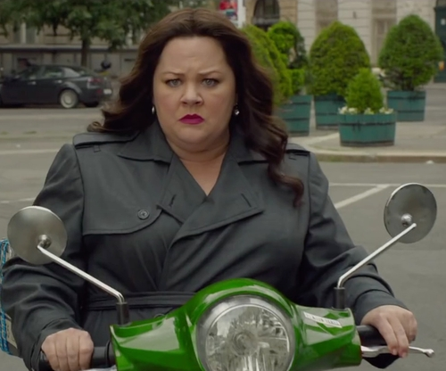 Melissa McCarthy with Vespa GTS Super Scooter in Spy