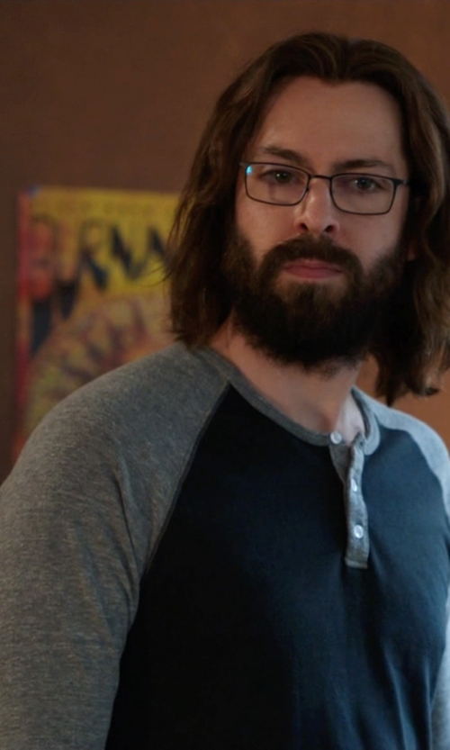 Martin Starr with Alternative Apparel Trim Fit Heathered Raglan Henley Eco Shirt in Silicon Valley