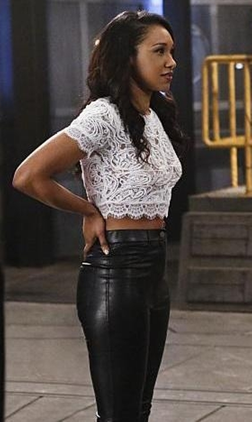 Candice Patton with Michael Kors Faux Leather Front Ponte Pants in The Flash