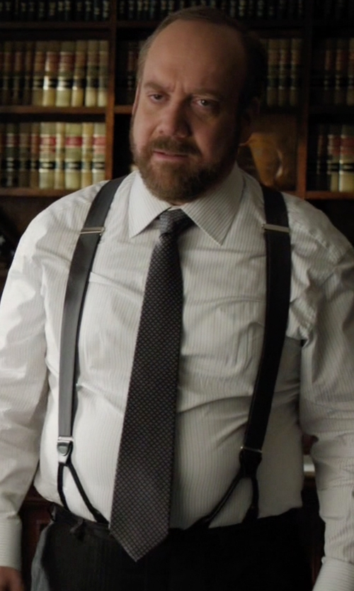 Paul Giamatti with Boss Stripe & Dot Textured Tie in Billions