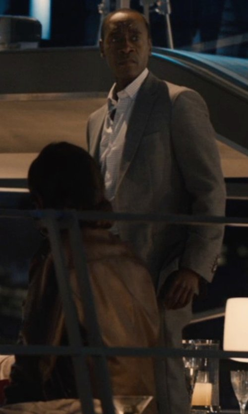Don Cheadle with Emporio Armani Single-Breasted Suit in Chintzed Flannel in Avengers: Age of Ultron
