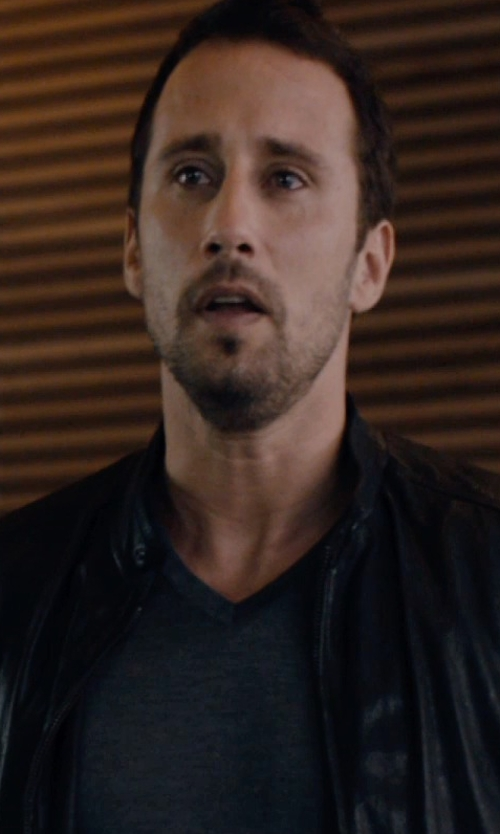 Matthias Schoenaerts with Vince V-Neck T-Shirt in The Loft