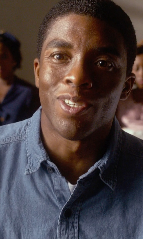 Chadwick Boseman with Levi's Men's Standard Denim Workshirt in Get On Up