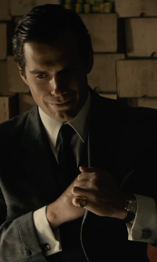 Henry Cavill with Gucci White Cotton Button Front Point Collar Shirt in The Man from U.N.C.L.E.