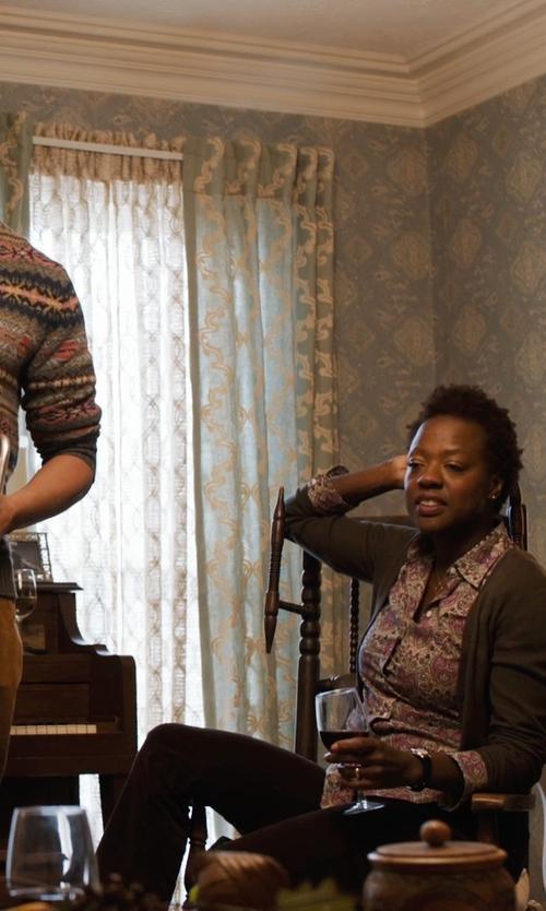 Viola Davis with Lauren Ralph Lauren Straight-Leg Stretch-Twill Pants in Prisoners