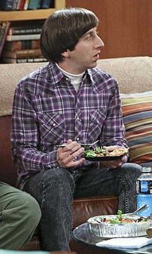 Simon Helberg with Axist Multi Plaid Button Down Shirt in The Big Bang Theory