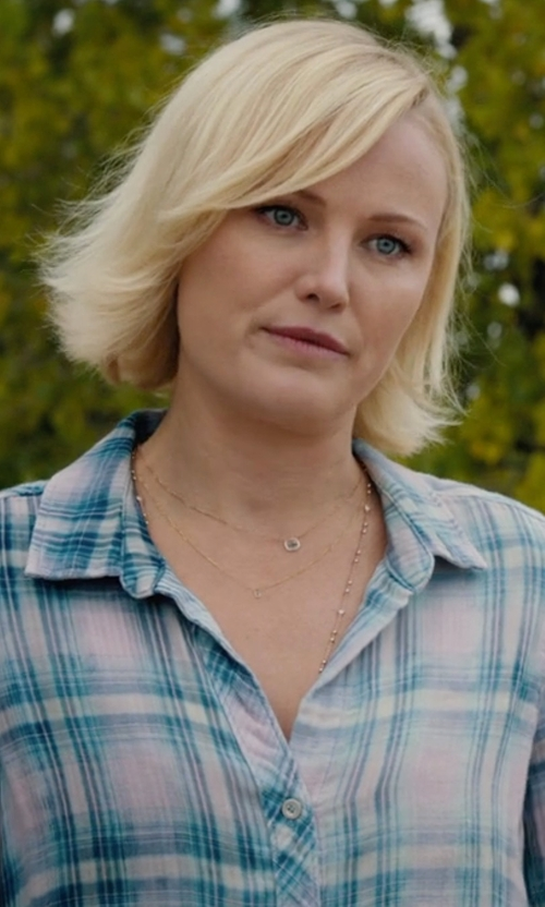 Malin Akerman with Olive + Sloane  Plaid Button-Down Shirt in Billions