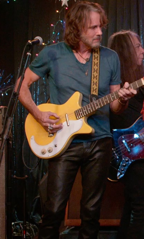 Rick Springfield with The Kooples Leather Effect Stretch Denim Jeans in Ricki and the Flash