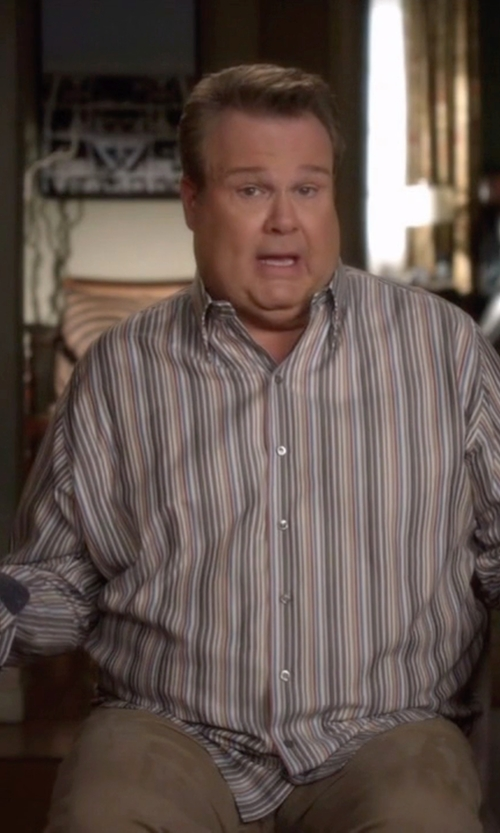Eric Stonestreet with Resistol Ranch Stripe Button Down Shirt in Modern Family