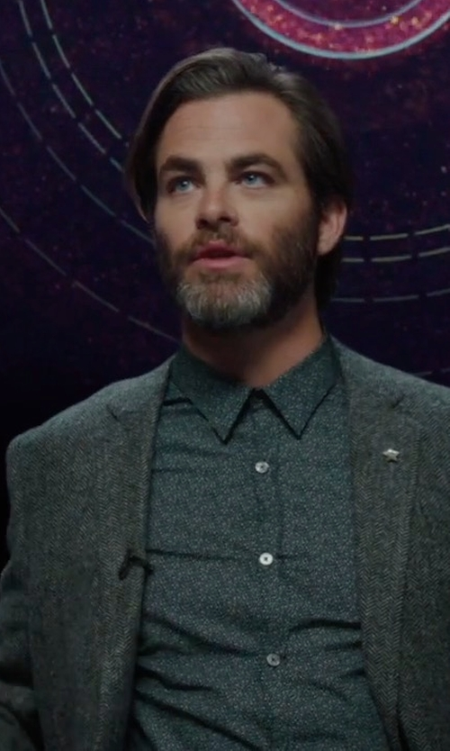 Chris Pine with Theory Rodolf Double-Face Blazer in A Wrinkle In Time