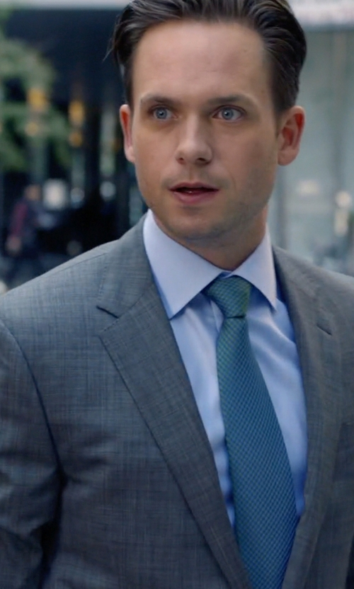 Patrick J. Adams with Ermenegildo Zegna Light Blue French-Collar Shirt in Suits