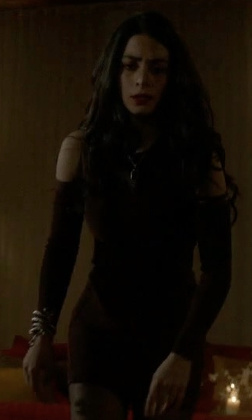 Emeraude Toubia with Marciano by Guess Annis Bandage Dress in Shadowhunters
