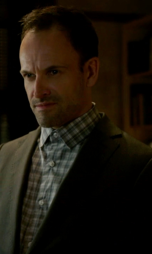 Jonny Lee Miller with Brooks Brothers Red Fleece Two-Button Wool Blazer in Elementary